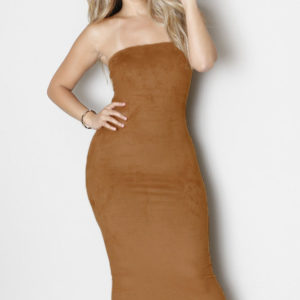 Khaki-Faux-Suede-Strapless-Midi-Dress-LC60435-1